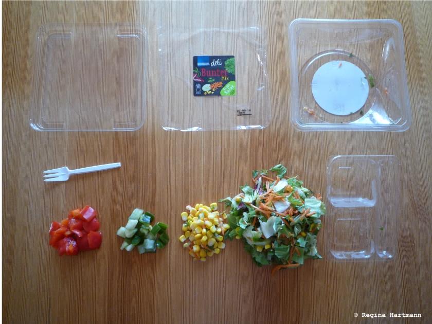 Viel Plastik wenig Salat